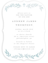 This is a blue baptism and christening announcement by Everett Paper Goods called simple foliage with standard printing on signature in standard.