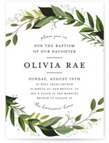 This is a green baptism and christening announcement by Susan Moyal called Vines of Green with standard printing on signature in standard.