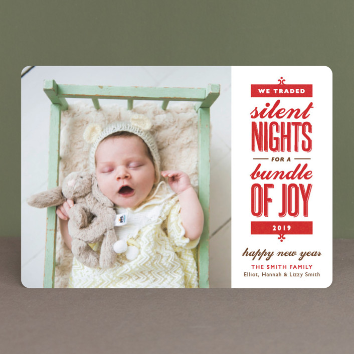 """Silent-less Nights"" - Vintage, Funny Holiday Birth Announcements in Fire Engine by Carolyn MacLaren."