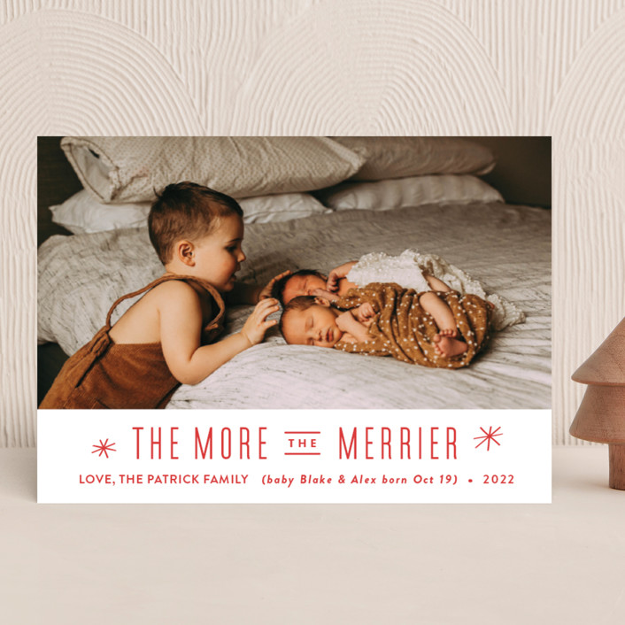 """The More, the Merrier"" - Modern Holiday Birth Announcements in Snowflake by Carolyn MacLaren."