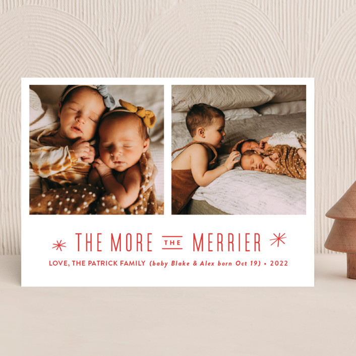 """The More, the Merrier"" - Holiday Birth Announcements in Snowflake by Carolyn MacLaren."
