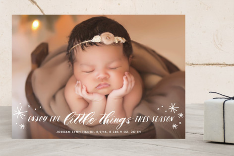 Enjoy The Little Things Holiday Birth Announcements