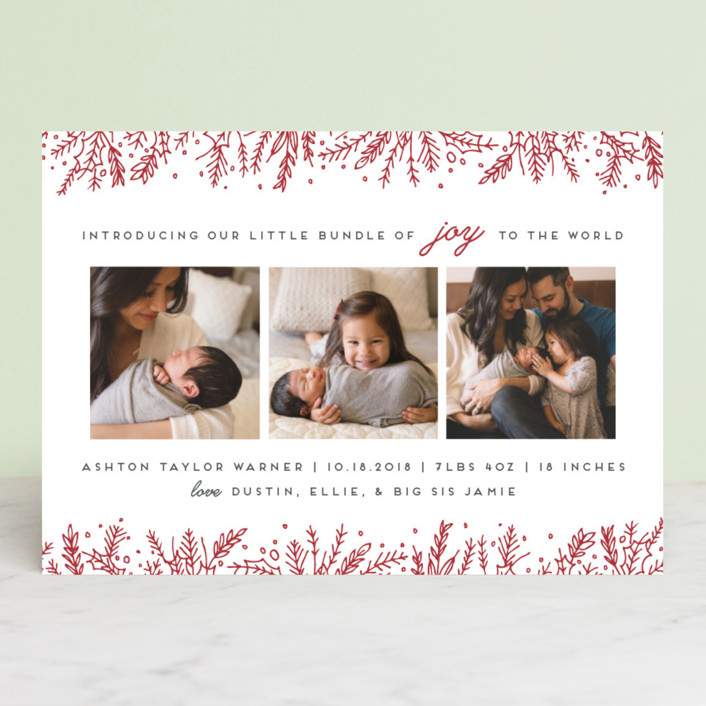 """Introducing with Joy"" - Holiday Birth Announcements in Candy Cane by Bethan."