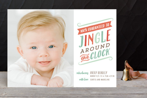 Jingle Around The Clock Holiday Birth Announcements