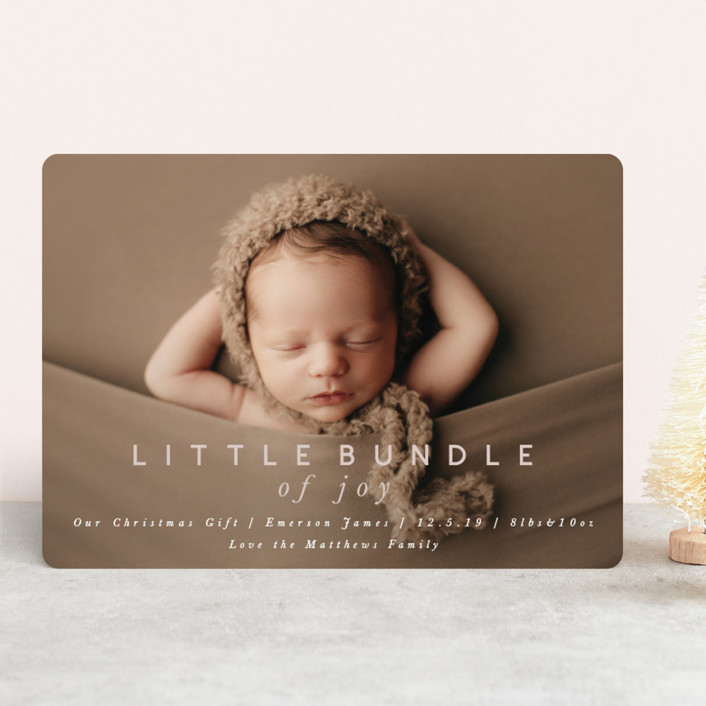 """little bundle of joy"" - Holiday Birth Announcements in Rose by Still and Mundane."
