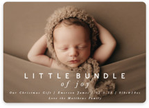 This is a grey babys first christma by Still and Mundane called little bundle of joy with standard printing on smooth signature in standard.