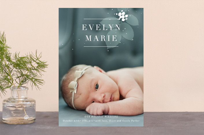 """Vellum"" - Holiday Birth Announcements in Mint by Angela Marzuki."