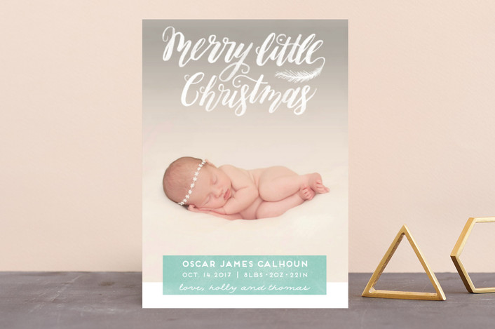 """Littlest Merry"" - Holiday Birth Announcements in Sea Green by Pink House Press."