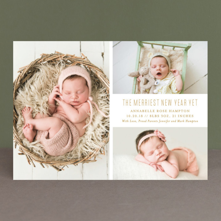 """The Merriest Yet"" - Holiday Birth Announcements in Onyx by Genna Cowsert."