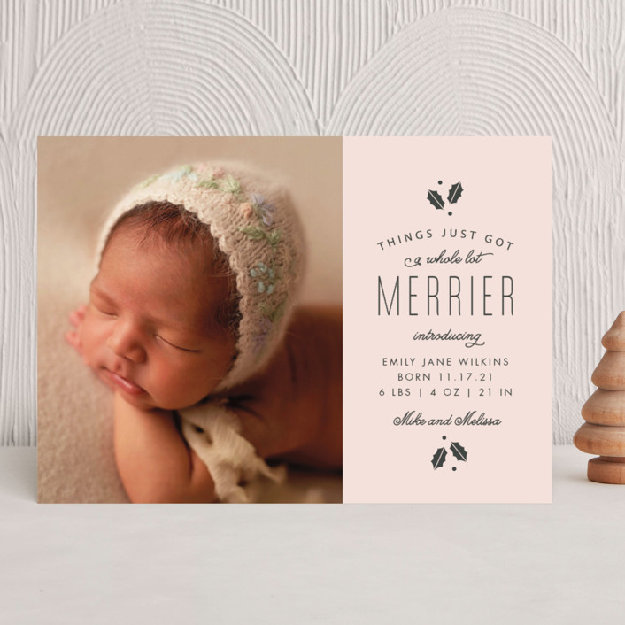 """""""A Whole Lot Merrier"""" - Holiday Birth Announcements in Blush by Sandra Picco Design."""