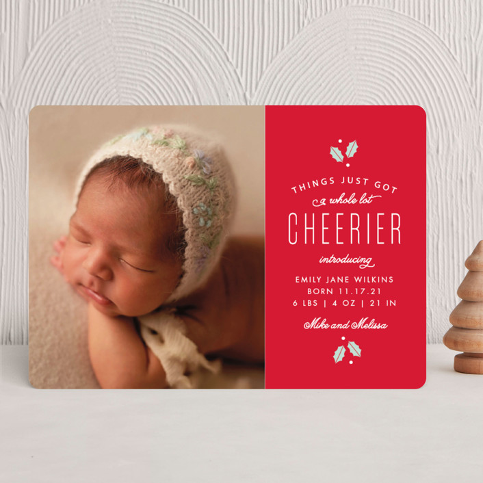 """A Whole Lot Merrier"" - Holiday Birth Announcements in Rudolph by Sandra Picco Design."