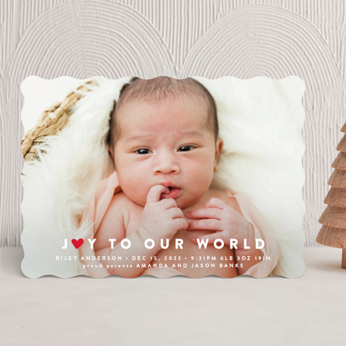 """Our Little World"" - Holiday Birth Announcements in Berry by Roxy Cervantes."