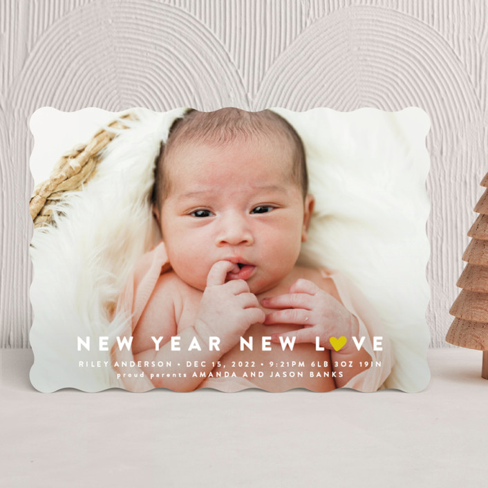 """""""Our Little World"""" - Holiday Birth Announcements in Berry by Roxy Cervantes."""