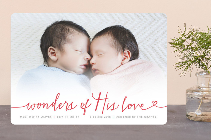 """Wondrous Love"" - Bohemian Holiday Birth Announcements in Red Berry by Hooray Creative."
