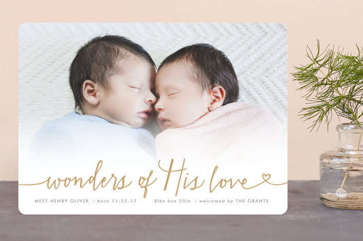 """""""Wondrous Love"""" - Bohemian Holiday Birth Announcements in Red Berry by Hooray Creative."""