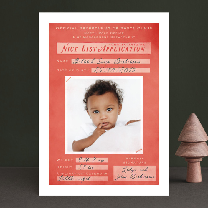 """""""Application Pending"""" - Funny Holiday Birth Announcements in Santa by Gwen Bedat."""