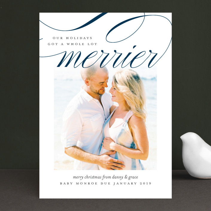 """""""Fancy And Merry"""" - Holiday Birth Announcements in Cardinal by Jessica Williams."""