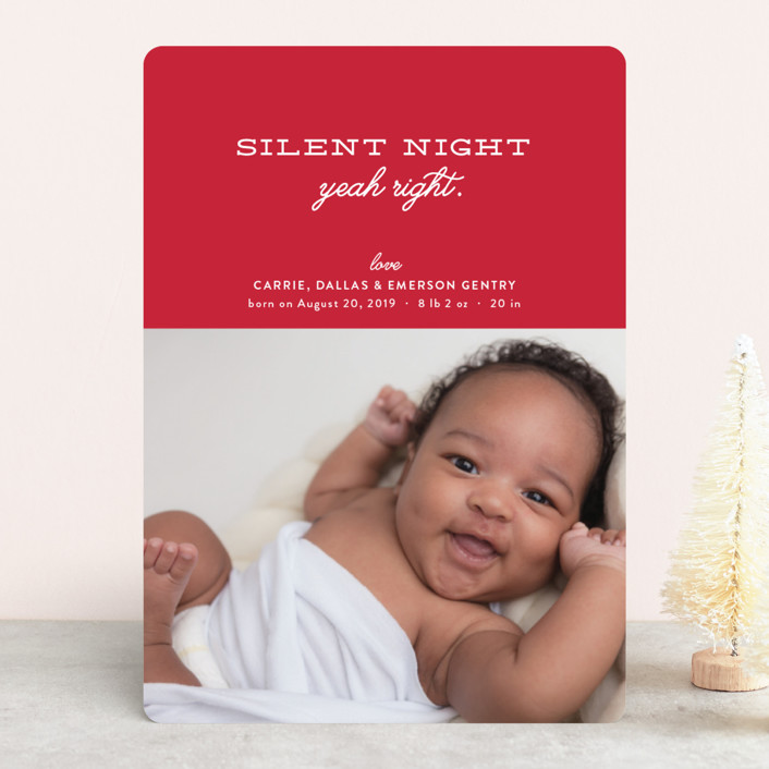 """""""Wishful Thinking"""" - Funny Holiday Birth Announcements in Berry by Carrie ONeal."""
