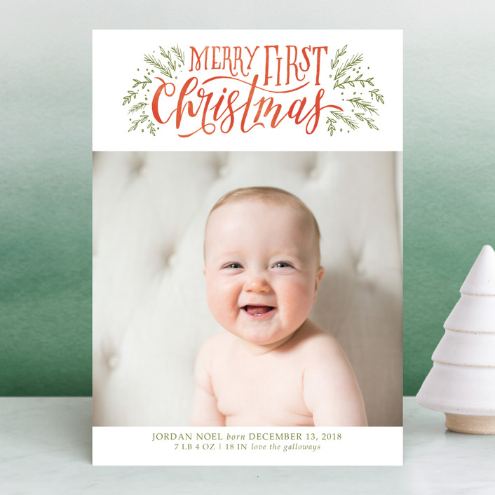 """Merry First"" - Bohemian Holiday Birth Announcements in Persimmon by Grace Kreinbrink."