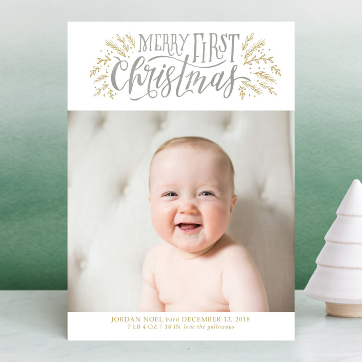 """""""Merry First"""" - Bohemian Holiday Birth Announcements in Persimmon by Grace Kreinbrink."""