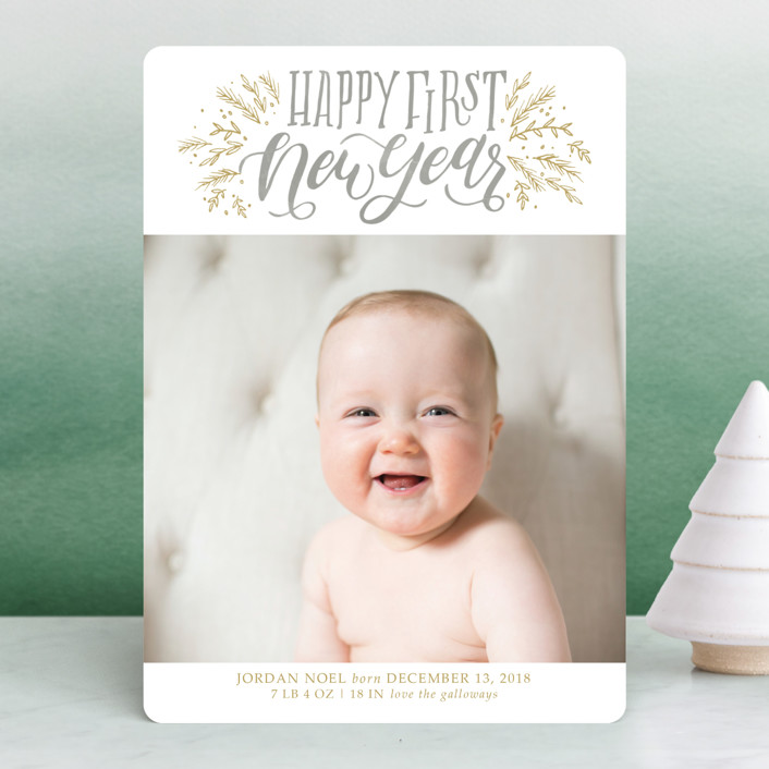 """Merry First"" - Bohemian Holiday Birth Announcements in Pewter by Grace Kreinbrink."