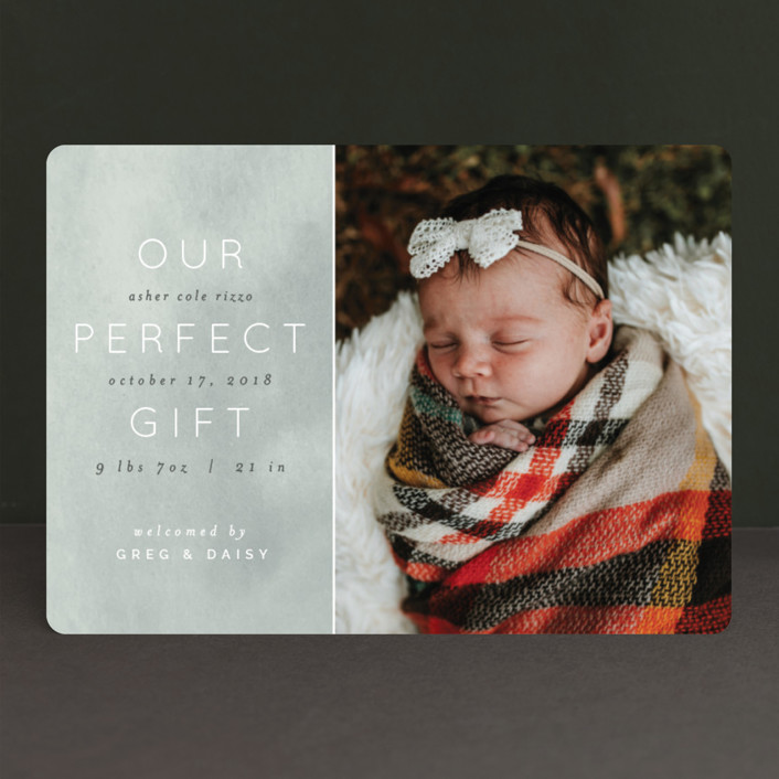 """Our Little Gift"" - Holiday Birth Announcements in Frost by Pixel and Hank."