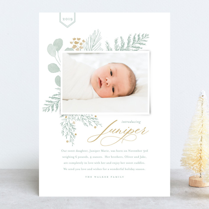 """Juniper"" - Holiday Birth Announcements in Golden by Oscar & Emma."