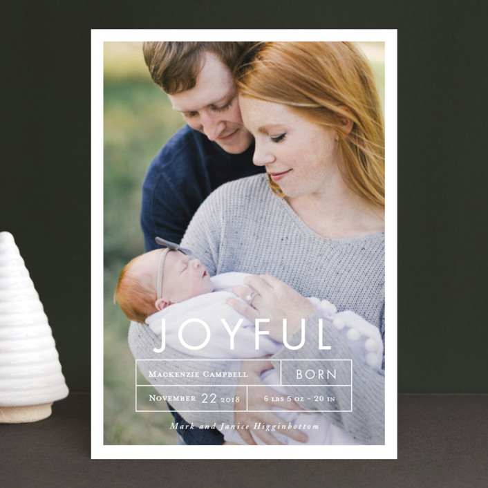"""More Joy"" - Holiday Birth Announcements in Snow by That Girl Press."