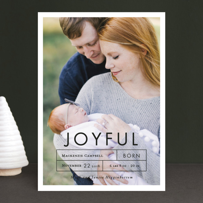"""""""More Joy"""" - Holiday Birth Announcements in Snow by That Girl Press."""