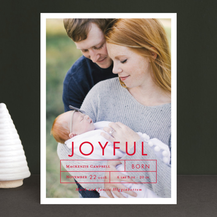 """""""More Joy"""" - Holiday Birth Announcements in Midnight by That Girl Press."""
