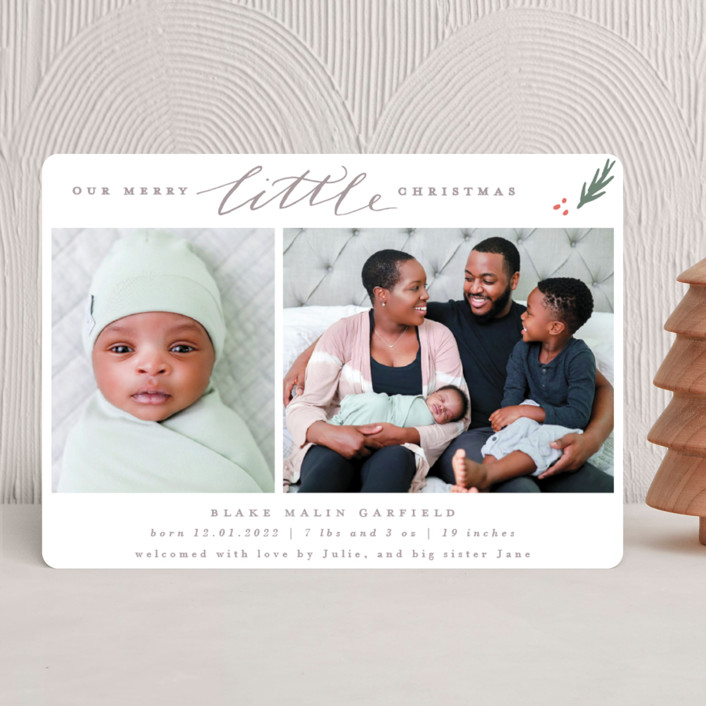 """Little Simple"" - Holiday Birth Announcements in Pine by Everett Paper Goods."