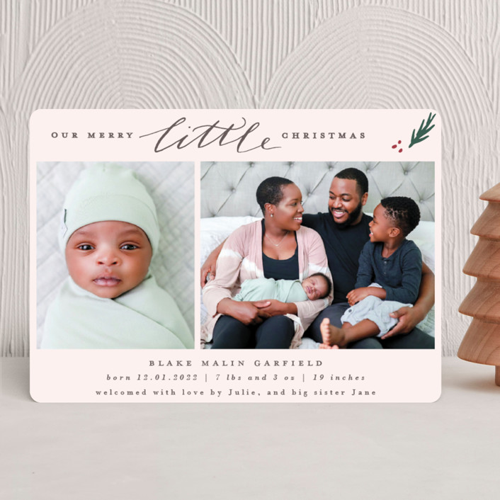 """""""Little Simple"""" - Holiday Birth Announcements in Blush by Everett Paper Goods."""