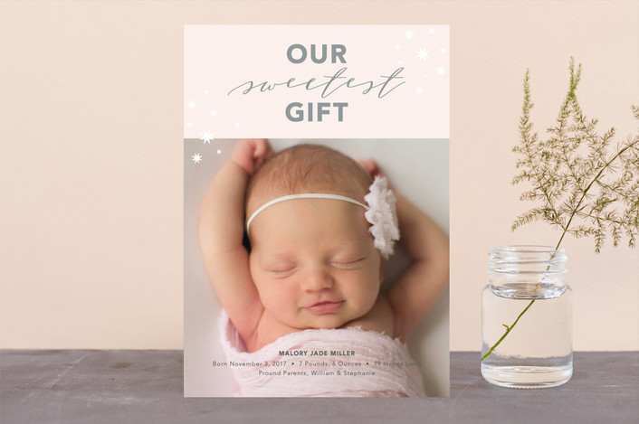 """""""Our Sweetest Gift"""" - Holiday Birth Announcements in Rose by Nicoletta Savod."""