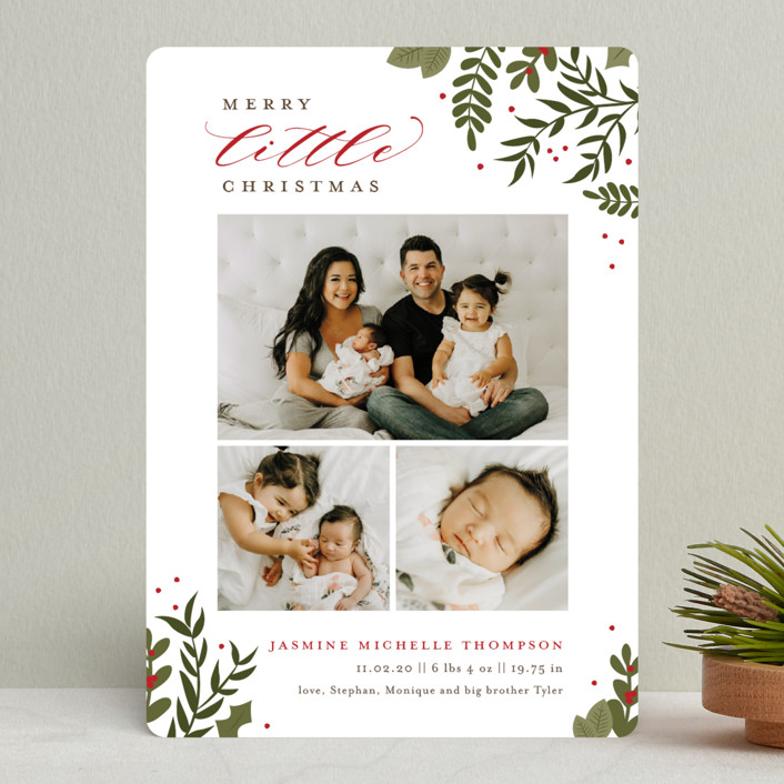 """""""Littlest Christmas"""" - Holiday Birth Announcements in Blush by Sarah Brown."""