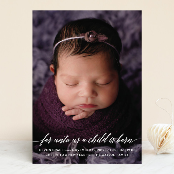 """Child is Born"" - Holiday Birth Announcements in Clear by Nicole Barreto."