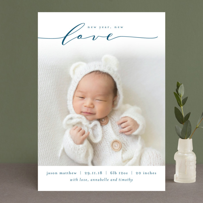 """Our Christmas Blessing"" - Holiday Birth Announcements in Navy by Kelly Schmidt."