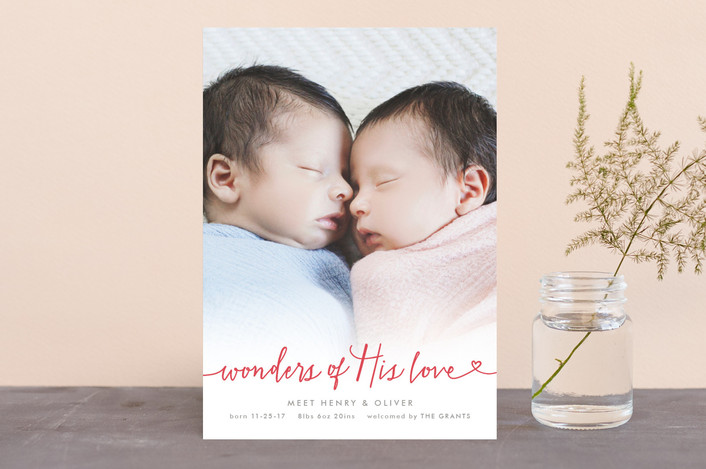 """Wondrous Love"" - Holiday Birth Announcements in Red Berry by Hooray Creative."