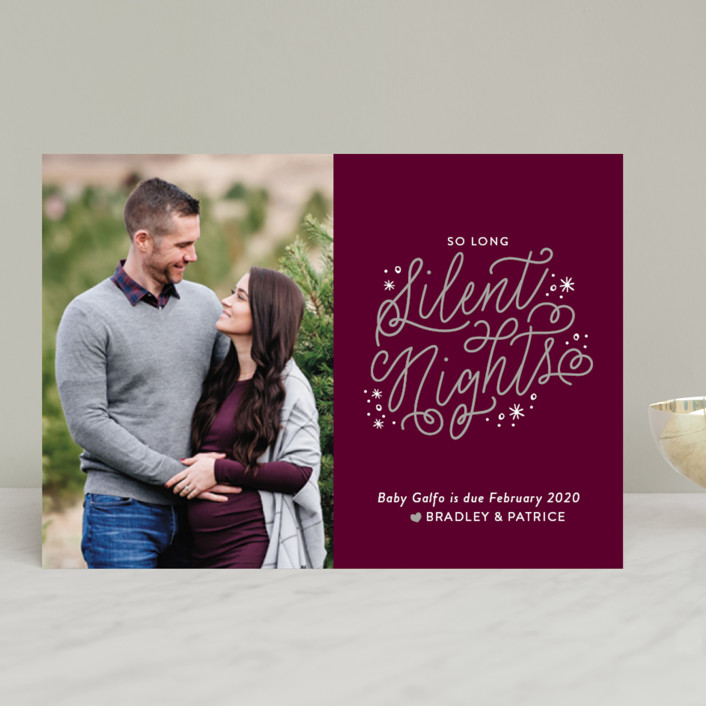 """So Long Silence"" - Funny Holiday Birth Announcements in Midnight by Sarah Brown."