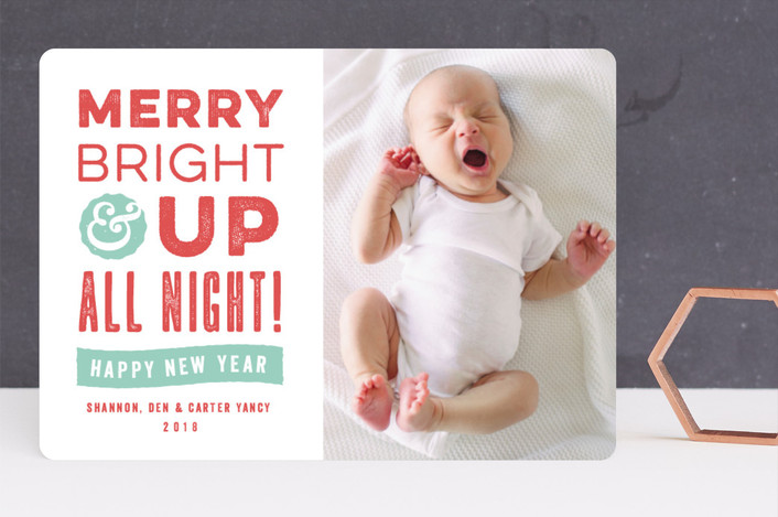 """Up All Night"" - Funny Holiday Birth Announcements in Berry by Olivia Raufman."