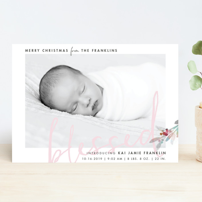 """""""We Are Blessed"""" - Holiday Birth Announcements in Mint by Qing Ji."""