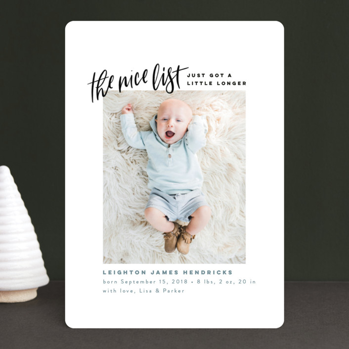 """""""Made the Nice List"""" - Funny Holiday Birth Announcements in Snow by Pink House Press."""