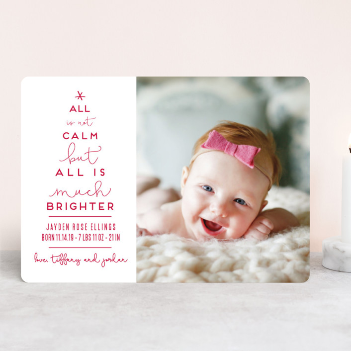 """Less Calm More Bright"" - Funny Holiday Birth Announcements in Candy Cane by Kaydi Bishop."