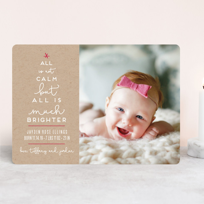 """Less Calm More Bright"" - Funny Holiday Birth Announcements in Kraft by Kaydi Bishop."