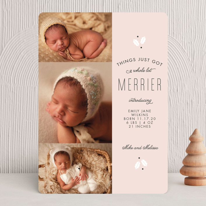 """A Whole Lot Merrier"" - Holiday Birth Announcements in Blush by Sandra Picco Design."