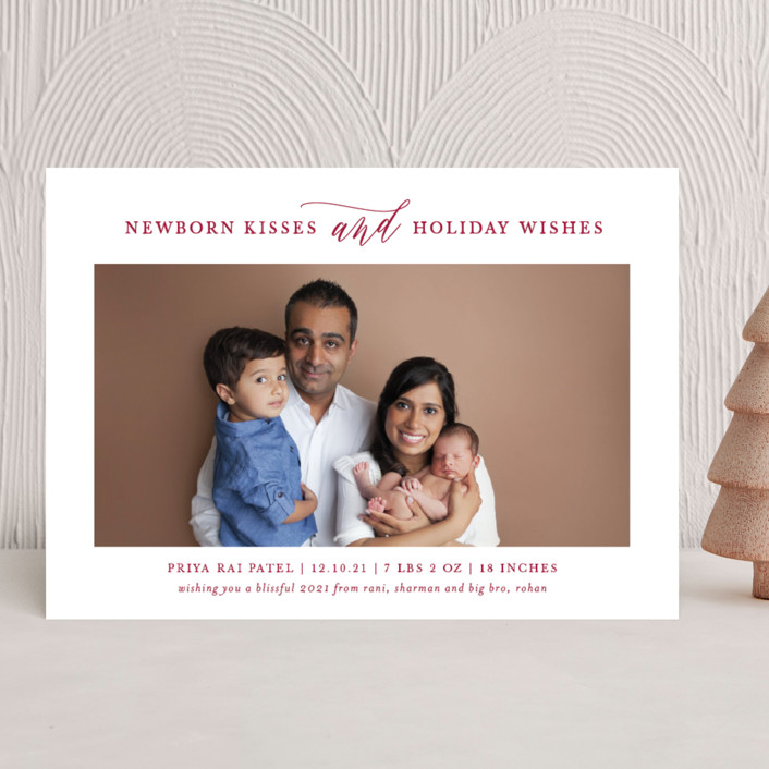 """""""Kisses + Wishes"""" - Holiday Birth Announcements in Antique by Lauren Chism."""