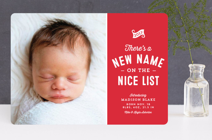 """New name on the nice list"" - Funny Holiday Birth Announcements in Cherry by Lea Delaveris."