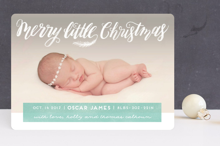 """""""Littlest Merry"""" - Holiday Birth Announcements in Sea Green by Pink House Press."""