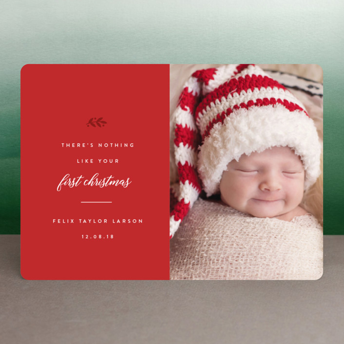 """Christmas Baby"" - Holiday Birth Announcements in Snow by carly reed walker."