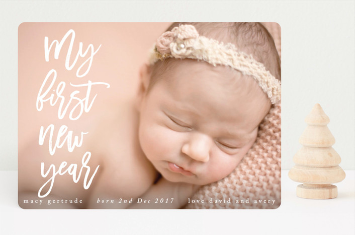 """""""My First Noel"""" - Modern Holiday Birth Announcements in Snow by Catherine Culvenor."""