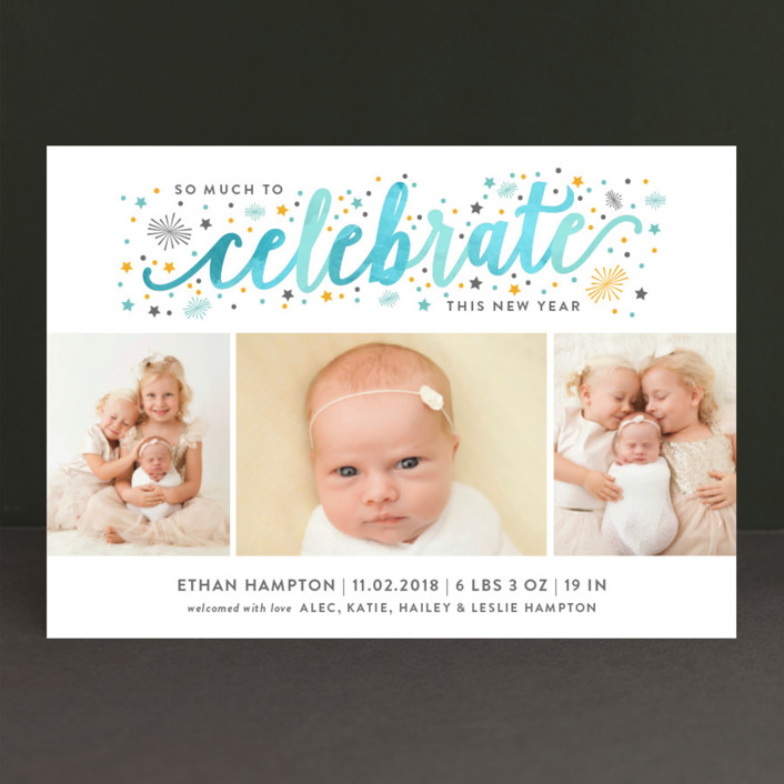 """Much to Celebrate"" - Holiday Birth Announcements in Seafoam by Sarah Brown."